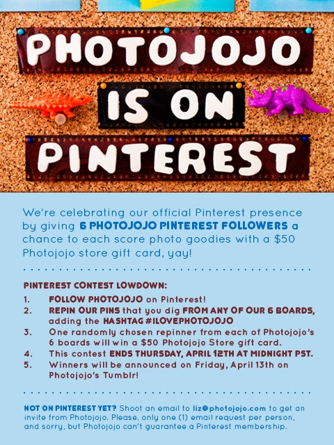 #ILOVEPHOTOJOJO Woohoo, Photojojo is officially launching our Pinterest boards! :) Follow us