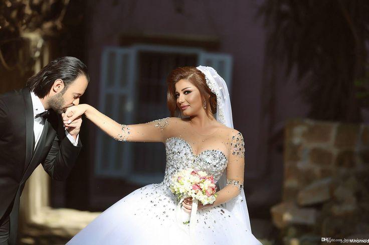 2016 vestidos de boda del tamaño árabe islámico musulmán completo encaje de manga larga más los vestidos sin espalda vestido de bola barato nupcial de la vendimia Oriente Medio