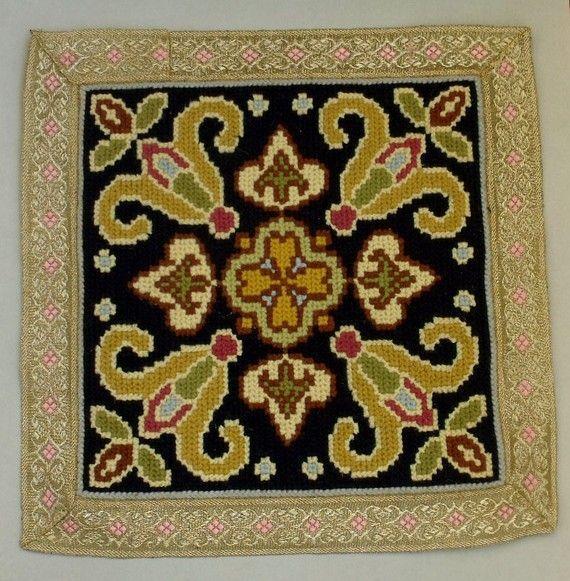 Antique Arraiolos Portuguese Embroidery Panel Doily