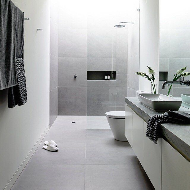 Bathroom ideas soft greys and #white #charcoal from Lubelso Hawthorn Concept Home in Melbourne by @cannygroup - Photo by #DerekSwalwell via @estmagazine