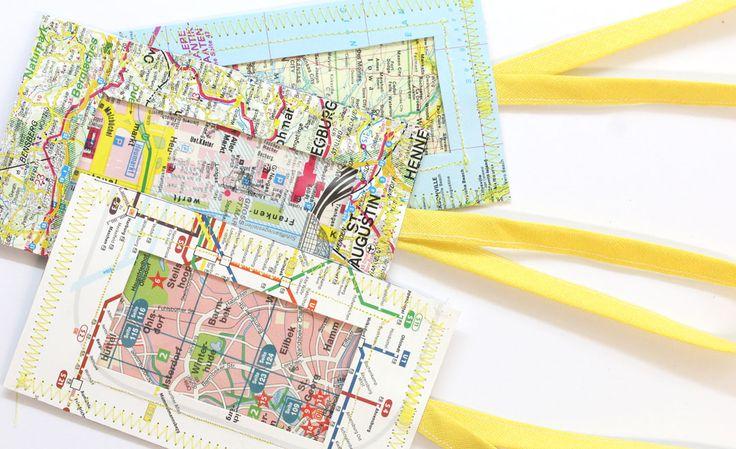 DIY  Kofferanhänger nähen & Selbermachen  aus alten Landkarten ...