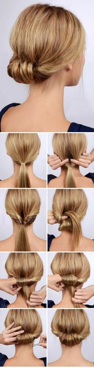 low chignon bun using topsy tail