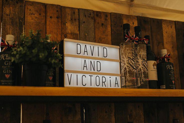 Just to remind guests why they're here :) love these adjustable light up displays. Photo by Benjamin Stuart Photography #weddingphotography #sign #weddingsign #weddingdecor #barsign #receptiondecor #festivalwedding #weddingideas