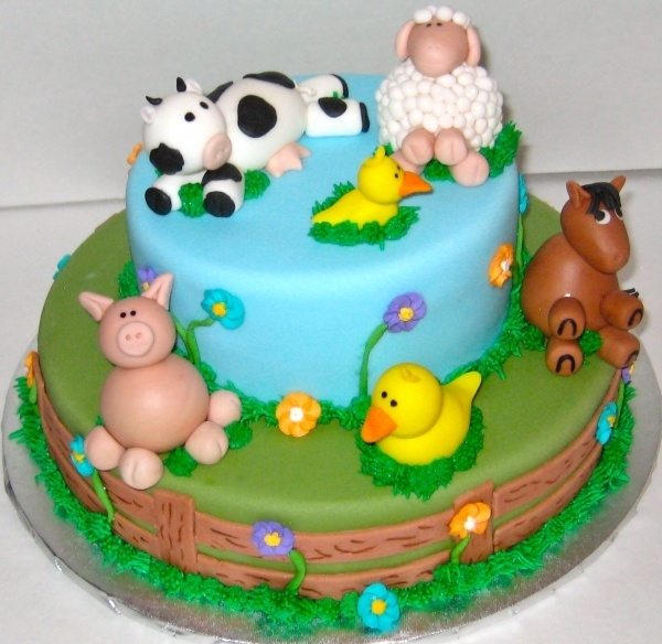 Farm Animal Cake- cuuuute, cowboy birthday