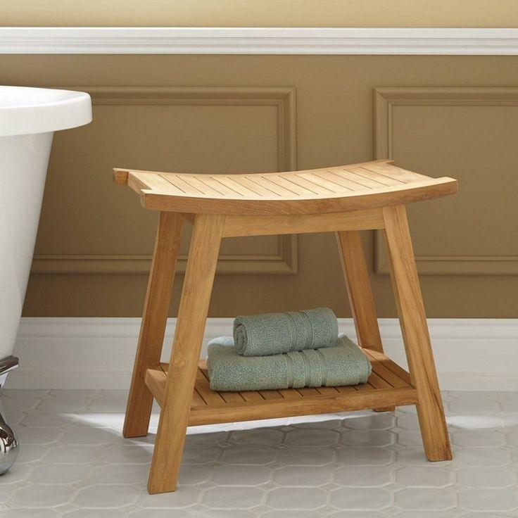 banc salle de bain aletrnatif tabouret en bois avec rangement gain de place - Tabouret Salle De Bain Transparent