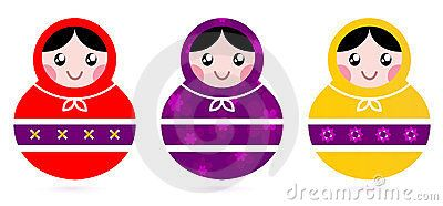 Cute colorful Russian Dolls. Vector Illustration