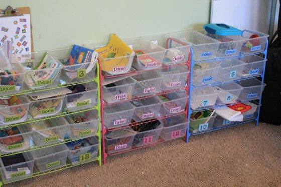 Now, I'm pretty sure I won't ever be homeschooling, but I still think this workbox system is cool and could be adapted to a smaller system for my boys and organizing chores, etc.