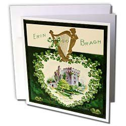 """Sandy Mertens St. Patricks Day - Erin Go Braugh Blarney Castle (Vintage) - Greeting Cards-12 Greeting Cards with envelopes by Sandy Mertens. $15.95. Erin Go Braugh Blarney Castle (Vintage) Greeting Card is a great way to say """"thank you"""" or to acknowledge any occasion. These blank cards are made of heavy duty card stock with a gloss exterior and a matte interior for smudge free writing. Cards are creased for easy folding and come with white envelopes. Available i..."""