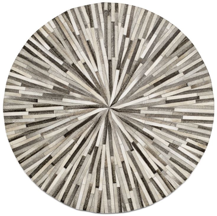 Grey Cowskin 150cm Diameter Contemporary Round Rugs