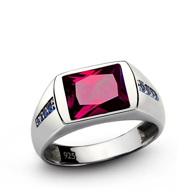 Red Ruby Men's Ring with Blue Sapphire Accents in 925 Sterling Silver #ring #mensbracelet #mensjewelry #mensring #gem #mensfashionpost #jewelry