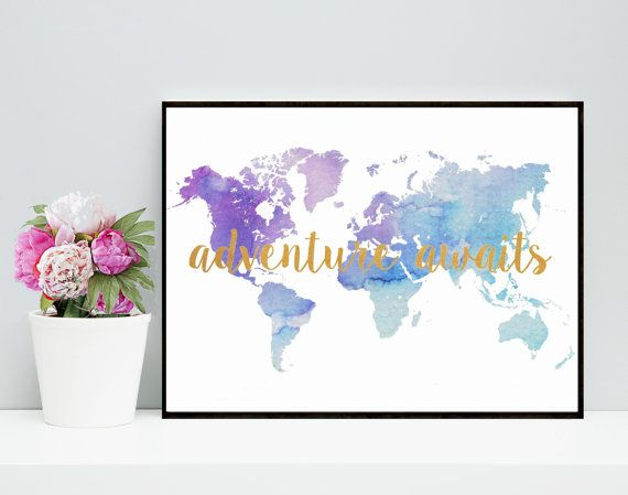 Best 25 world map online ideas on pinterest world map design watercolor world map adventure awaits printable art inspirational print blue maptypography poster wall decor digital download gumiabroncs Images