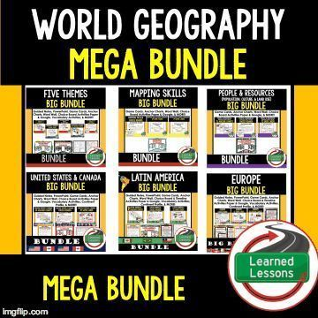 Geography Bundle Geography Anchor Charts Geography Game Cards Geography Google Geography Guided Notes Geography Word Walls Geography Choice Boards and more