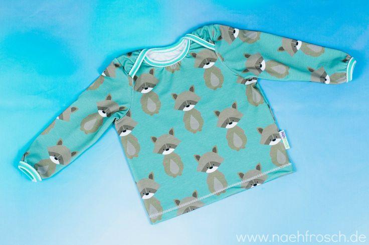 Nähfrosch Shirt Liam von Sara&Julez mit amerikanischem Ausschnitt Nähen für Babys Waschbär Stoffe-Hemmers