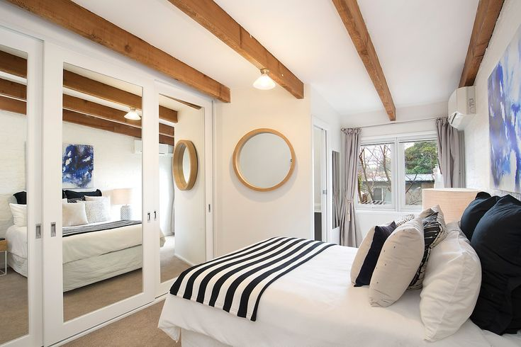 #Bedroom #Circle #Mirrors #Interior #Design #Interiordesign #Black #White #Black&white #Pillars #Timber #Forsale #Annandale #Art