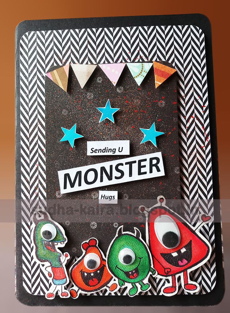 """Hi Folks   I am back with my another creation.   A Monster Hugs..   This card is inspired by my Daughter Chidren's magazine """"Magic Pot""""   ..."""