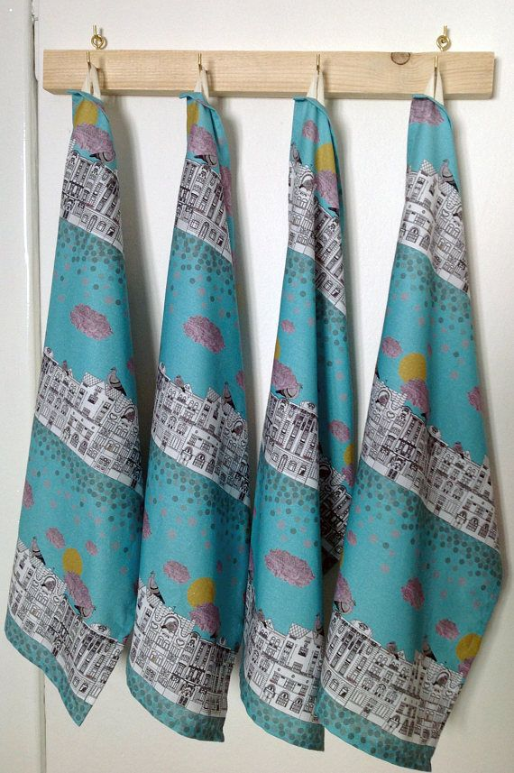 Pigeons on Vrsovice tea towel, kitchen towel, Czech architecture, Prague