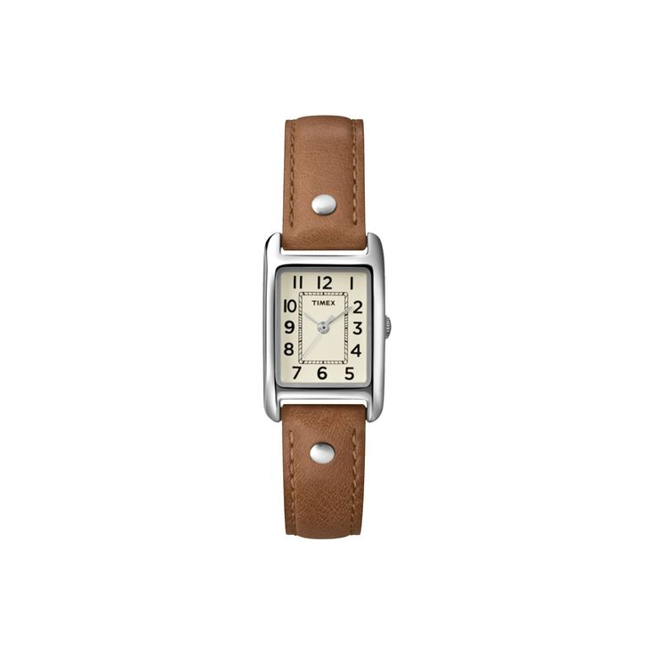 Women's Timex Watch with Leather Strap - Silver/Brown T2N905JT, Alamo Brown