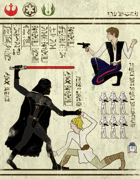 hero-glyphics: The Force Art Print |  How fantastic is this??? Star Wars meets Ancient Egypt! Complete with an archaeological find look. Love it.