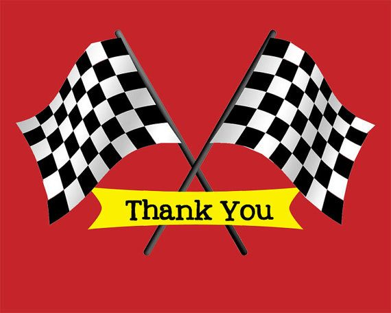 Race Track Birthday Thank You Cards Checkered Flag Black