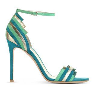 Sandali in  pelle multicolor e metal