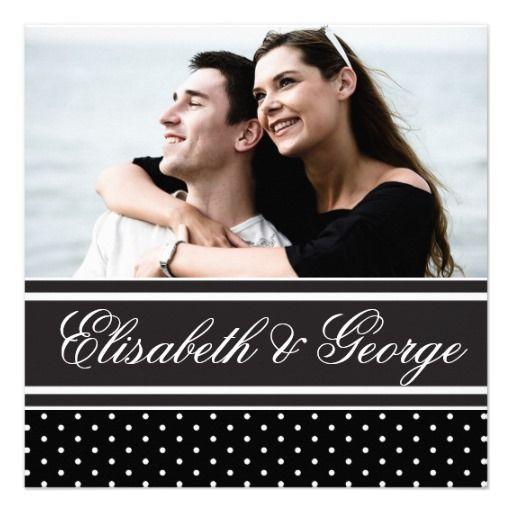 Black and White Polka Dot Elegant Wedding Invitations