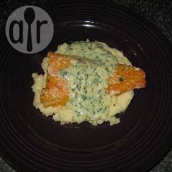 Smoked cod with creamy parsley sauce on garlic mash @ allrecipes.com.au