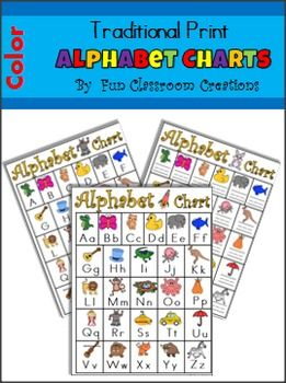 This is a set of color alphabet charts with Traditional Print font.Many variations of the alphabet chart are included:*Uppercase Letters and Pictures*Lowercase Letters and Pictures*Both Uppercase and Lowercase Letters and Pictures*Pictures and Lines (students write the letters)*Pictures and blanks (students can write the letters)*Uppercase Letters Only (No Pictures)*Lowercase Letters Only (No Pictures)*Uppercase and Lowercase Letters Only (No Pictures)Also, there are charts with 'fox' for…