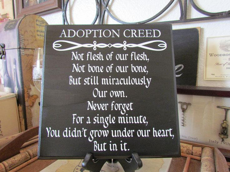 Custom Made Adoption Creed Quote Plaque (done in any color of paint and any color of vinyl lettering swirl line decal or cross at top)10x10