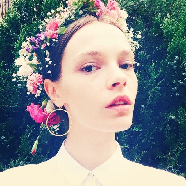 See These Model Hairstyles for Summer Hair Inspiration | flower crown and updo on Mina Cvetkovic