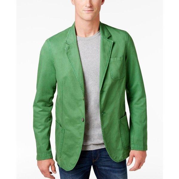 Weatherproof Vintage Men's Twill Camo Blazer ($130) ❤ liked on Polyvore featuring men's fashion, men's clothing, men's sportcoats, kelley green, men's apparel, mens blazers, men's sportcoats and blazers, mens clothing and mens green blazer
