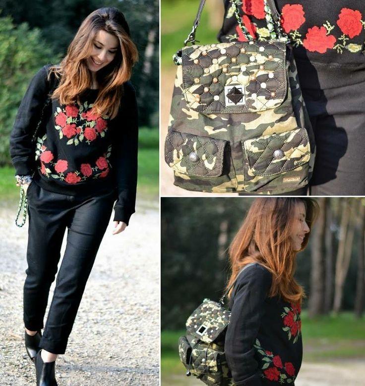 Valentina di The chic attitude blog. sa come abbinare il floreale all'ironia #camo #Pomikaki!! #zaino #backpack #Icons  http://www.thechicattitude.com/2014/03/camouflage-backpack.html