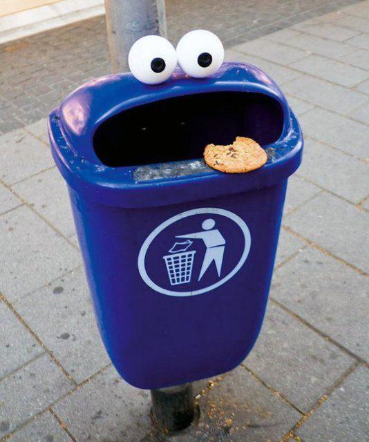 Vila Sesamo: Cookie Monster, Street Art, Funny Stuff, Humor, Monsters, Things, Streetart