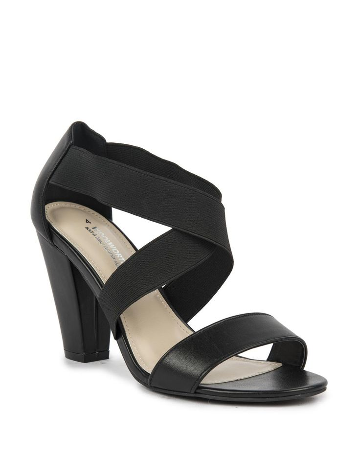Leather Stretchy Strap Block Heels
