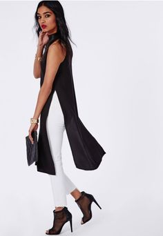 High Neck Side Split Shell Top Black - Tops - Shell Tops - Missguided