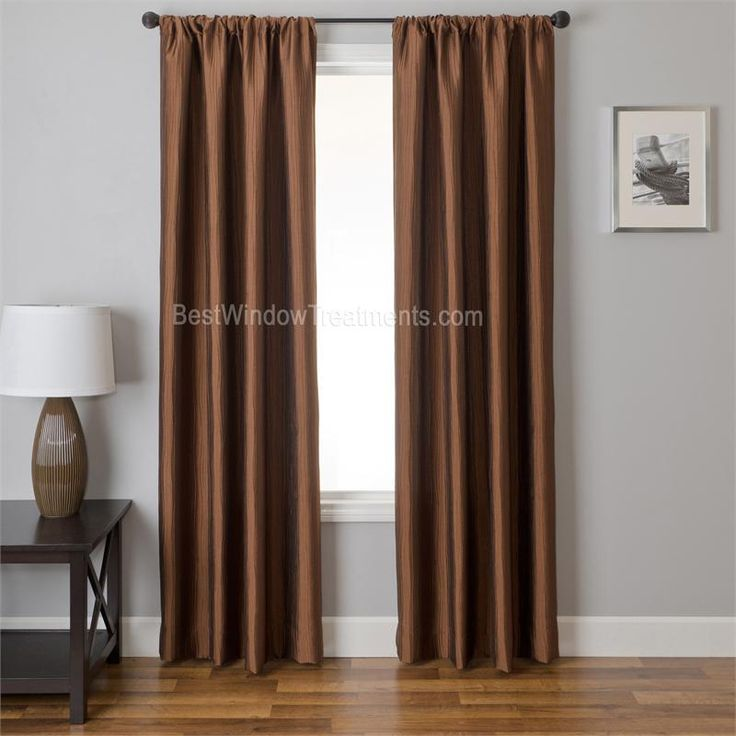 Straino Curtain Drapery Panels In Solid Copper Color Pressed Wavy Folds For Unique Window