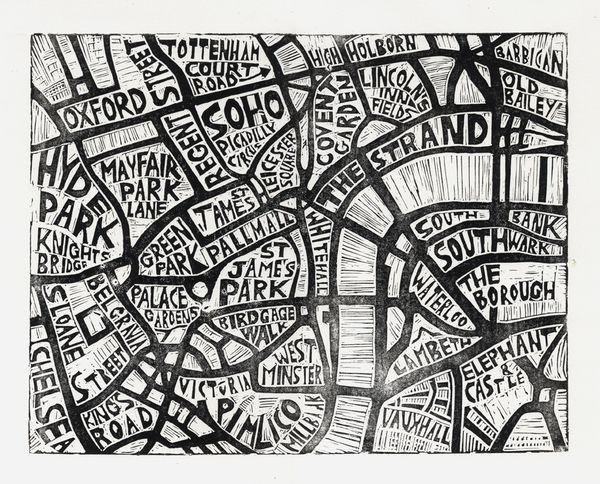 Typographic Linocut Map of London by Abigail Daker, via Behance