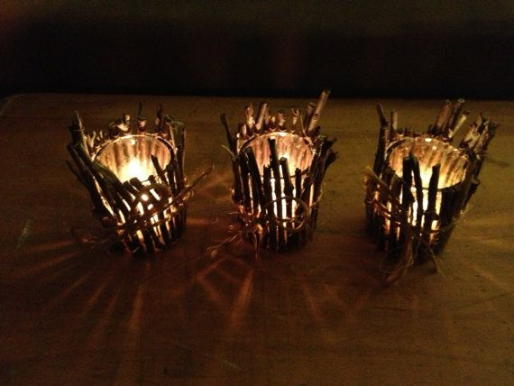 Rustic Twig Candle Holder Set Of Three Country Home Decor