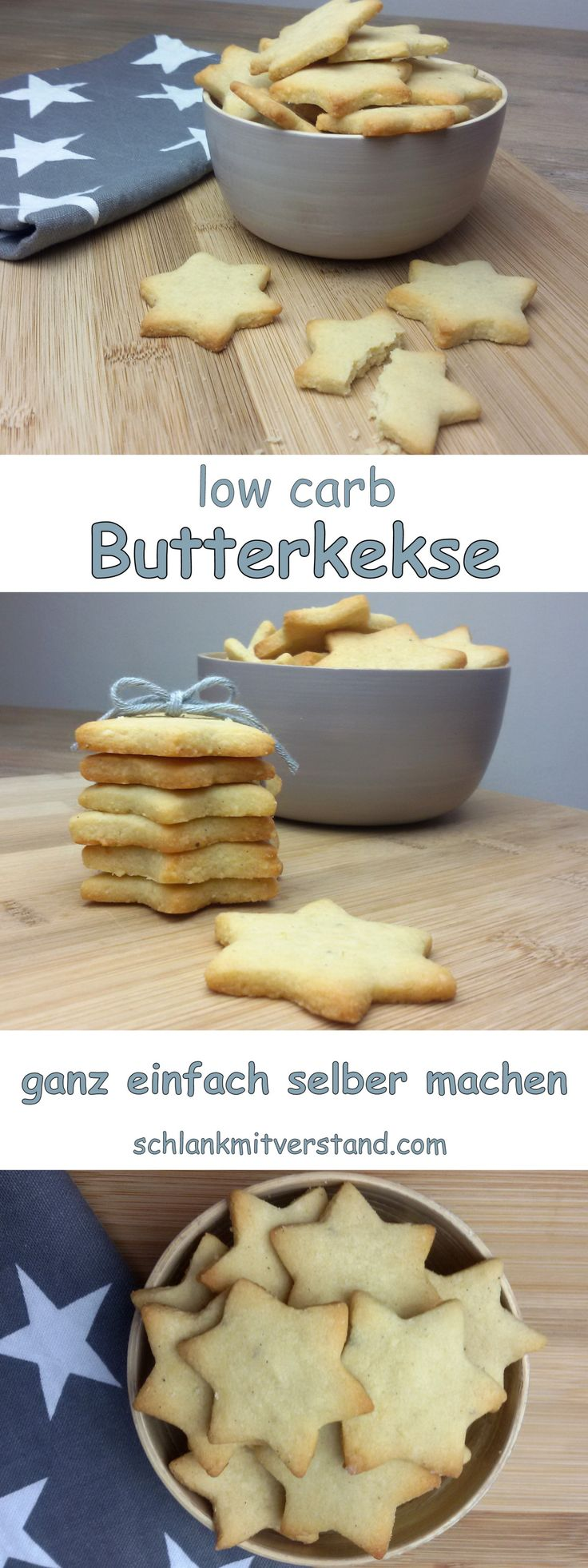 low carb Butterkekse einfach selber machen Bei uns gab es heute wieder leckere Butterkekse. Das Mandelmehl sollte entölt sein. Zutaten für ca. 30 Stück: 100 g Butter, weich 80 g * Mandelmehl, entölt 30 g * Xylit (fein) 1/2 TL * Sonnentor Vanillepulver 1 Prise Salz #abnehmen #lowcarb #Rezept #deutsch #Foodblog #Kekse #Sterne