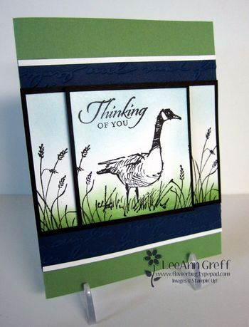 handmade greeting card: Wetlands Class to Go from Flowerbug's Inkspot ... love the panel design ... goose and sentiment on the main card ... grasses stamped on the side panels ... pretty sponged green green and blue ... great card! ... Stampin' Up!