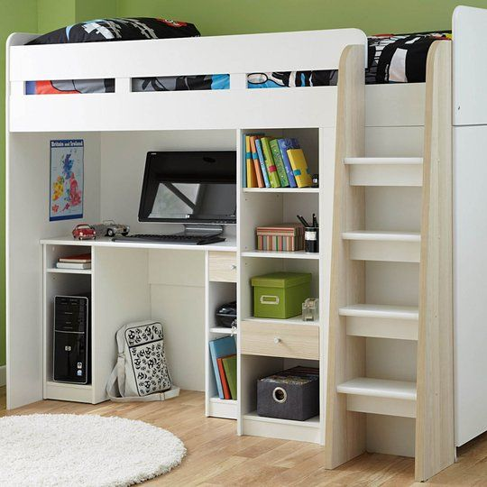 Henry Bunk Bed Frame With Desk Shelves And Wardrobe From