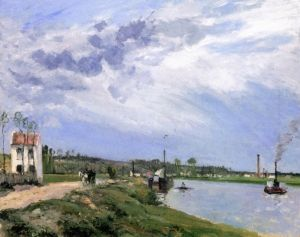 Path by the Oise with Barge, Boat and Tug, Pontoise - Camille Pissarro - The Athenaeum