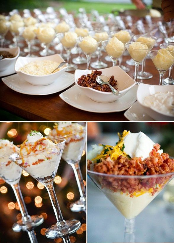 12 Tiny Wedding Treats That Will Satisfy Big-Time: Mashed potatoes, bacon bits, cheese, and sour cream - need we say more?