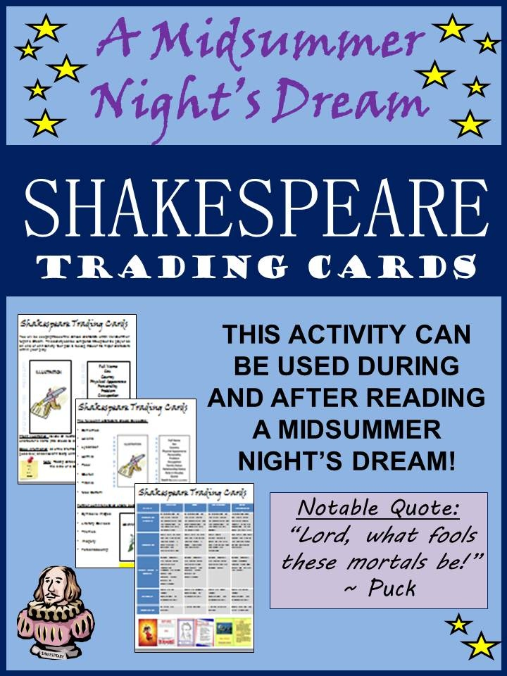 Students will keep track of the various characters within A Midsummer Night's Dream. This activity can be completed throughout the play or as an end of unit activity. This would also be a helpful activity to review characterization before a quiz, test or final exam.