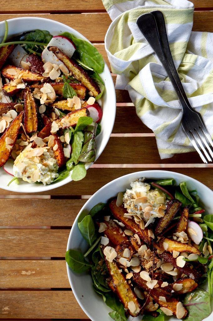 Sumac spiced roasted carrot salad with preserved lemon and labneh