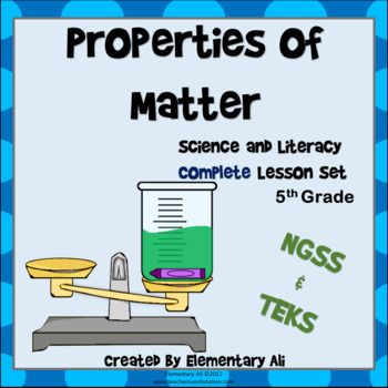 Great way to incorporate NGSS into your 5th grade science curriculum! This is your one stop shop for complete lesson sets to teach the topic and standards!! Everything you need to teach the properties of matter, identifying matter, or describing matter is included in this set. All you need to add are the lab materials, which I keep as simple as possible. The activities in this lesson set are created to incorporate reading and writing, project based learning, and critical thinking.