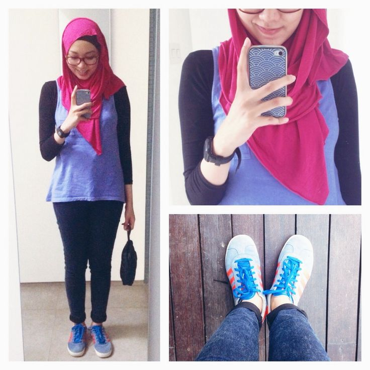 #ootd hijab style : sporty friday! Washed tank,  jeans, cotton shawl, adidas. #fien