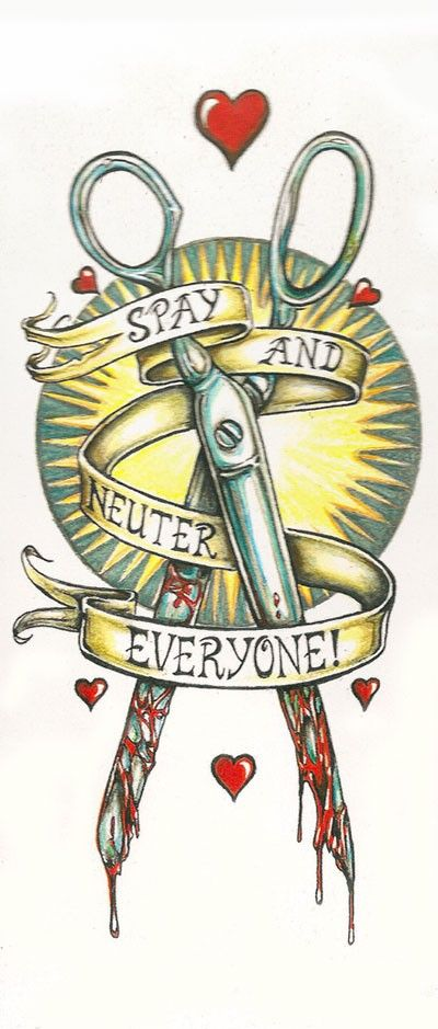 Spay and Neuter Everyone tattoo flash art by NaomiSeraphina, $6.00