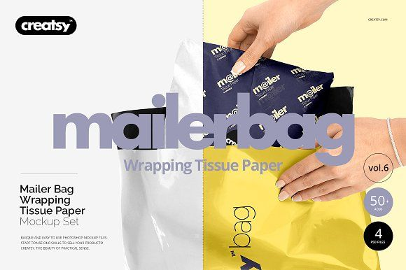 Download Mailer Bag Wrapping Tissue Paper Set Paper Mockup Mockup Free Psd Free Psd Mockups Templates