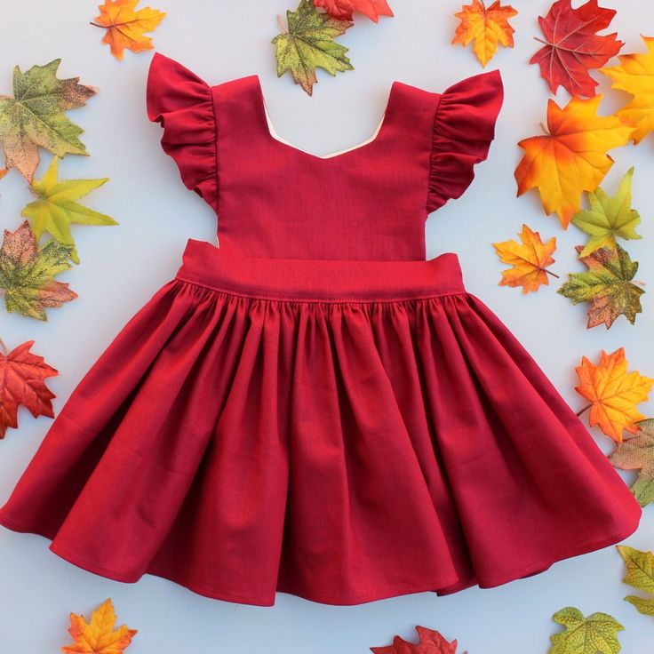 Cora Pinafore Dress in Garnet Linen for baby toddler little girl long elbow sleeve cotton handmade button back warm cozy fall winter thanksgiving vintage inspired boutique made in usa small shop