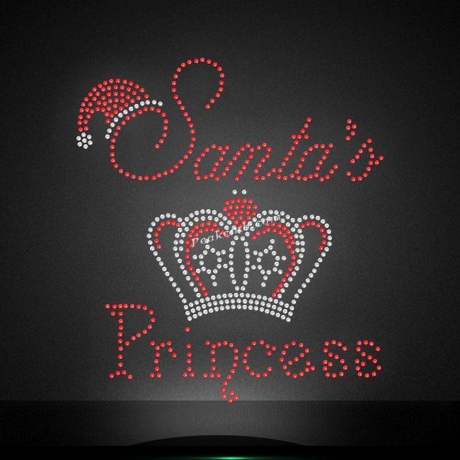 "HOTFIX RHINESTONES Heat transfer Iron on  /""santa/'s princess/"""